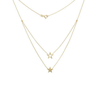 14K Yellow Gold Duo Solid Open Star Necklace